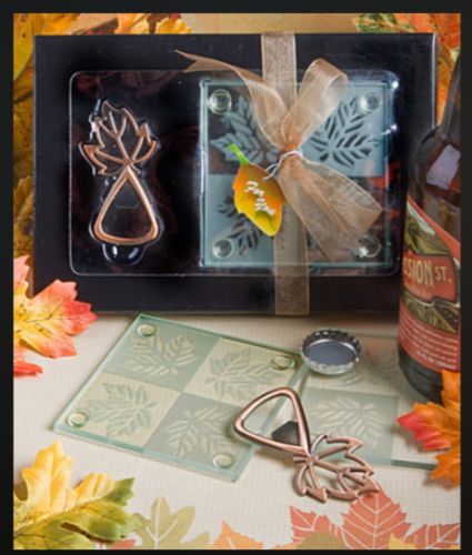 Autumn Leaf Bar Set Bottle Opener and Coaster in Gift Box Table Halloween Party Gift